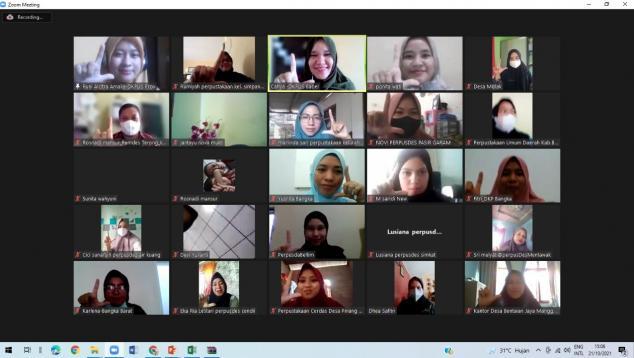 Pelaksanaan Sosialisasi Program Transformasi Perpustakaan Berbasis Inklusi Sosial secara virtual, Kamis (21/10/2021).