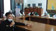 Kepala DKPUS Babel Rakhmadi saat menyampaikan pertanyaan dalam Sosialisasi Pemusnahan Arsip via zoom meeting, Rabu (30/6/2021).