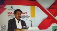 Kepala Perpusnas RI M. Syarif Bando memberikan sambutan saat Pembukaan Rakornas Bidang Perpustakaan 2021, Senin (22/3/2021).